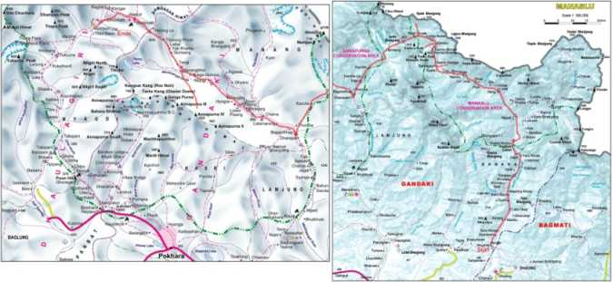 Manaslu and Annapurna Map